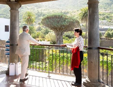 Blog Photo - SOTH Viviana and Ron admire the 100-year-old tree in Icod de los Vinos